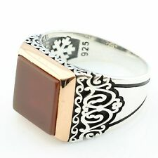 Handmade 925 Sterling Silver Square AGATE(Aqeeq) Stone Men's Ring US Seller 1K5R