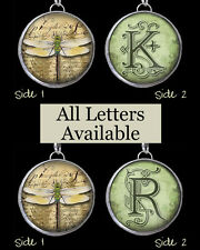 "Letters Initial White Dragonfly Necklace 1"" Silver Soldered Pewter Charm Pendant"