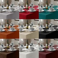 PLAIN LINEN LOOK TABLE CLOTHS & TABLE COVERS,IN ASSORTED COLOURS & SIZES