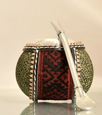 Yerba Mate Cup / Gourd with leather wrap & bombilla. Free Yerba Mate!