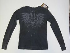 09 - AFFLICTION Mens THERMAL T-Shirt STRETCH L/S BLACK 100% cotton HAND CRAFTED