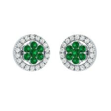 0.45 ct Round Green Emerald & Sapphire Solid Gold Flower Cluster Stud Earrings