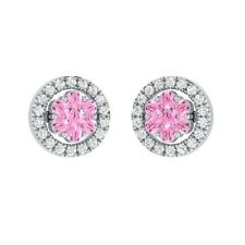 0.45 ct Round Light Pink & Sapphire Solid Gold Flower Cluster Stud Earrings