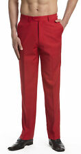 CONCITOR Collection Men's Dress Pants Trousers Flat Front Slacks Solid RED Color