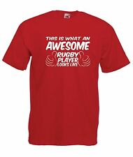 AWESOME RUGBY PLAYER funny present NEW Men Women T SHIRTS TOP size s m l xl xxL