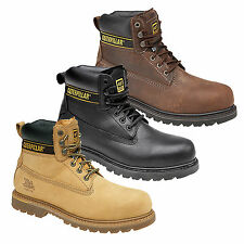 Mens New CAT Caterpillar Black Honey Brown Leather Safety Work Boots Uk 6 - 13