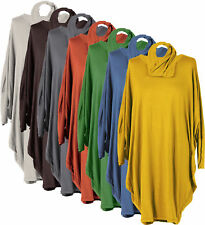 New Ladies Italian Lagenlook Quirky Batwing Sleeve Loos Fit Top Dress Plus Size