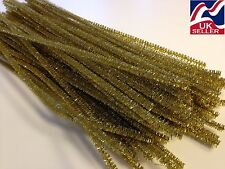 "10-100x GOLD GLITTER chenille craft stems pipe cleaners 30cm (12"") long 6mm wide"