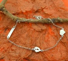 Personalized Anklet, Sterling Silver,Custom Name Jewelry,2 charm,Name plate Ank
