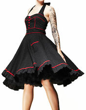 HELL BUNNY Vanity ~ Rockabilly Goth 50s Polka Dot Dress Plus Size ~ Psychobilly