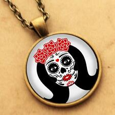 Sugar Skull Necklace - Day Dead Rockabilly Pinup Goth Girl Pendant Punk Tattoo 1