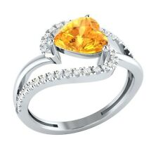 1.70ct Heart & Round Citrine & White Sapphire Solid Gold Engagement Wedding Ring