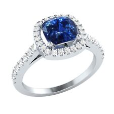 1.40 ct Cushion Blue Sapphire & Round White Sapphire Solid Gold Engagement Ring