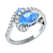 3.35ct Heart & Round Blue Topaz & White Sapphire Solid Gold Heart Promise Ring