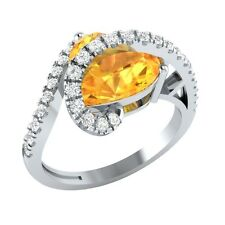 3.35ct Heart & Round Cut Citrine & White Sapphire Solid Gold Heart Promise Ring