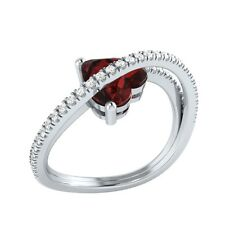 1.77ct Heart & Round Cut Garnet & White Sapphire Solid Gold Heart Promise Ring