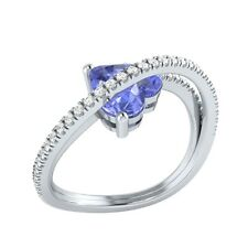 1.77ct Heart & Round Tanzanite & White Sapphire Solid Gold Heart Promise Ring