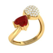 1.04ct Heart & Round Cut Ruby & White Sapphire Solid Gold Heart Promise Ring
