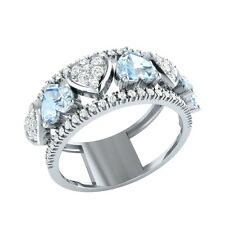 1.94ct Heart & Round Cut Aquamarine & White Sapphire Solid Gold Heart Ring
