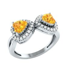 1.20ct Heart Shape Citrine & White Sapphire Solid Gold Double Heart Promise Ring