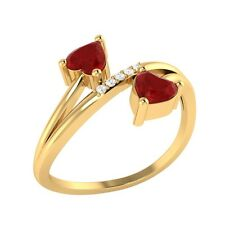 0.53 ct Heart & Round Cut Ruby & White Sapphire Solid Gold Bypass Ring
