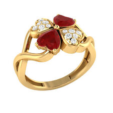 1.13ct Heart & Round Cut Ruby & White Sapphire Solid Gold Heart Promise Ring