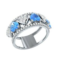 1.94ct Heart & Round Cut Blue Topaz & White Sapphire Solid Gold Heart Ring