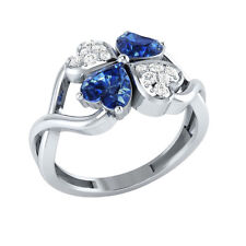 1.13ct Heart & Round Cut Blue & White Sapphire Solid Gold Heart Promise Ring