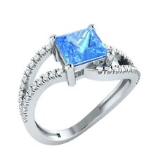 1.33ct Princess Blue Topaz & Round White Sapphire Solid Gold Engagement Ring