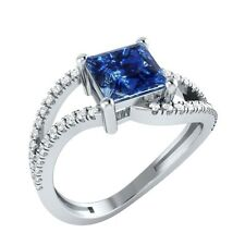 1.33ct Princess Blue Sapphire & Round White Sapphire Solid Gold Engagement Ring