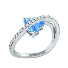 1.77ct Heart & Round Blue Topaz & White Sapphire Solid Gold Heart Promise Ring