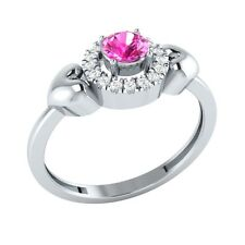 0.32ct Round Cut Pink Sapphire & White Sapphire Solid Gold Halo Heart Ring