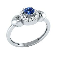 0.32ct Round Cut Blue Sapphire & White Sapphire Solid Gold Halo Heart Ring