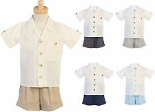 New Baby Toddler Boys Shorts 2 Pc Set Outfit Easter Wedding Party Birthday G833