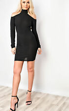 Womens ladies Long Sleeve Cut Out Bodycon Dress
