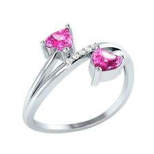 0.53 ct Heart & Round Cut Pink Sapphire & White Sapphire Solid Gold Bypass Ring