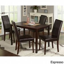 Dining Table Set And Chairs 5 Pc Kitchen Room Furniture Faux Leather Wood Brown