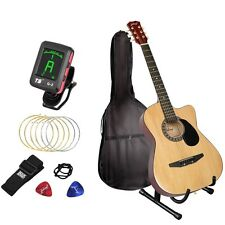 """Steel Stringed 96cm 38"""" Acoustic Guitar with Bag Tuner Stand Pickup Clip Package"""