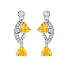 2.20ct Yellow Citrine & White Sapphire Solid Gold Drop/Dangle Earrings For Women