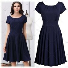 Women Vintage Retro 1950's Evening Cocktail Party Casual Outdoor Pleated Dress