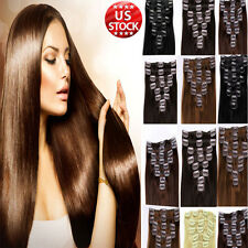 35% Off Black Brown Blonde Clip In Remy Human Hair Extensions Full Head Sexy A82