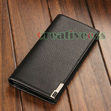 Stylish Classic Men PU Leather Long Wallet Pocket Card Clutch Cente Bifold Purse