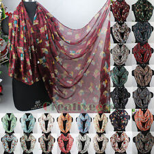 Fashion Women's Owls Tree Branches Print Viscose Ladies Long/Infinity Scarf New