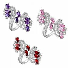 Size 6-9 Wedding Colored Gems Finger Rings Plum Style Jewelry 18K Gold Filled