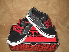 NEW VANS ATWOOD TEXTILE BLACK/CHILI RED SKATE SHOE YOUTH 11Y, 11.5Y