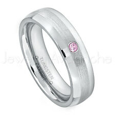 0.07ct Pink Tourmaline Ring, October Birthstone Ring, Tungsten Wedding Band #006