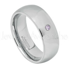 0.07ct Amethyst Solitaire Ring, February Birthstone, Tungsten Wedding Band #013B