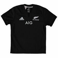 adidas Childrens Kids Rugby New Zealand All Blacks Home Shirt Jersey Top - Black