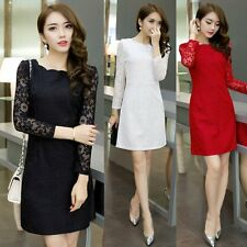 Women Sexy OL Mini Dress Lace Long Sleeve Party Cocktail Evening Bodycon Dresses