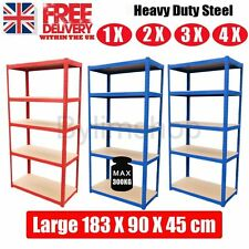 HEAVY DUTY SHELVING 5 TIER BAY GARAGE WORKSHOP RACKING BOLTLESS STORAGE UNIT HO